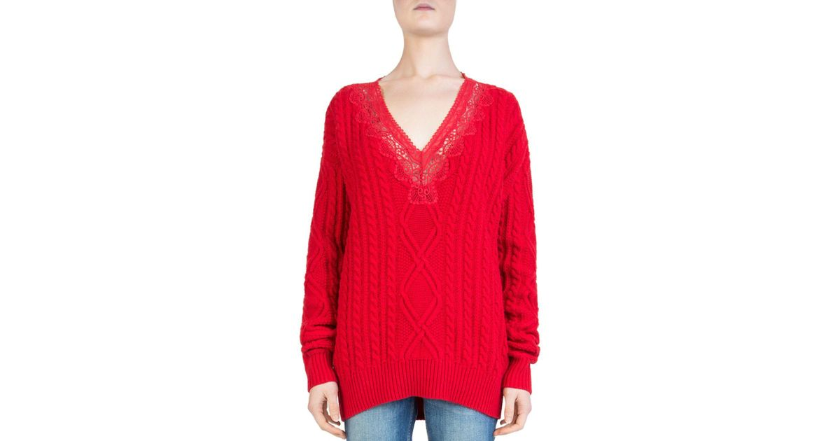 Lyst - The Kooples Lace-inset Cable-knit Sweater in Red 8db9e84c0