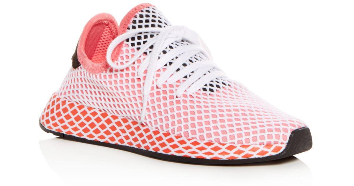 more photos 85dc7 04e89 adidas Womens Deerupt Net Lace Up Sneakers in Pink - Save 34