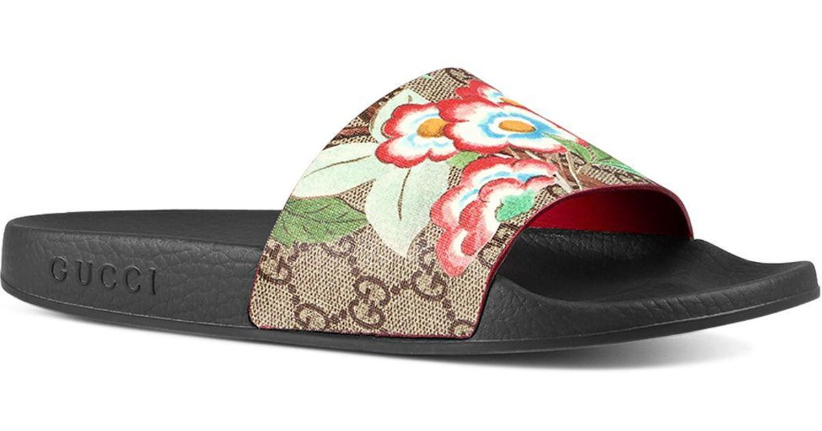 31dff11dd684f Lyst - Gucci Pursuit Pool Slide Sandals in Brown