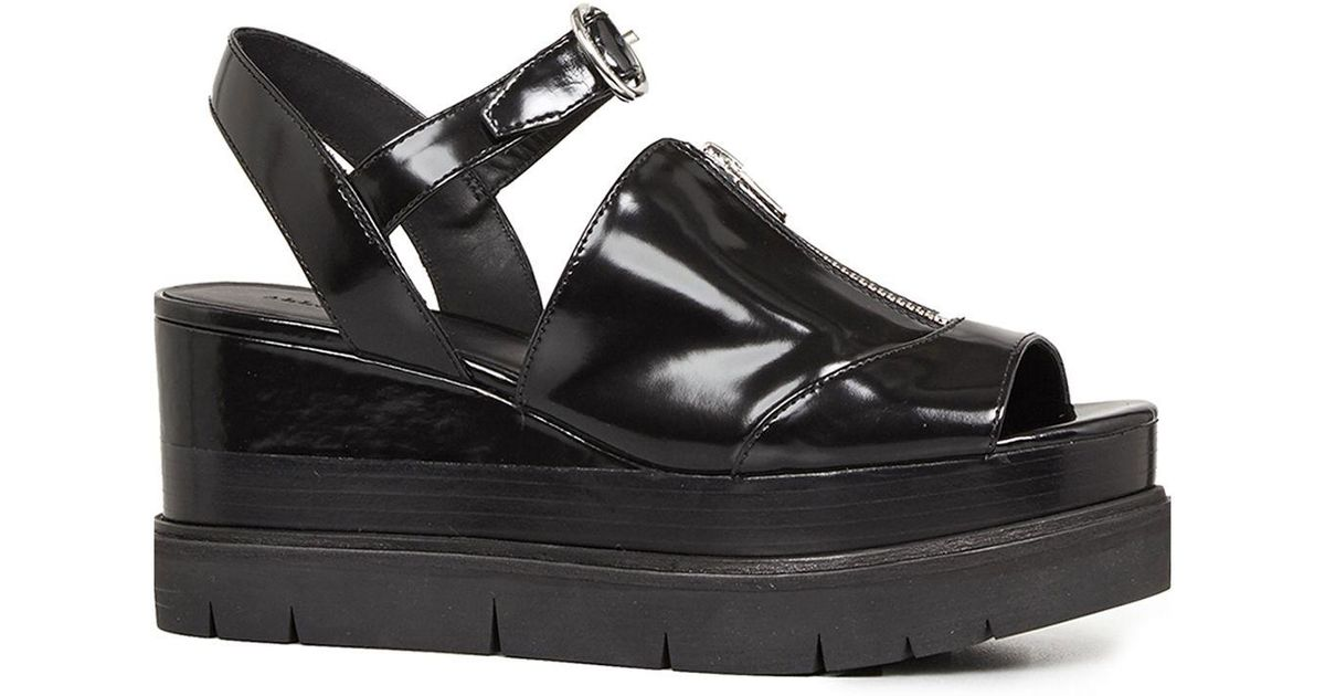 6ce095b59114 AllSaints Gino Platform Wedge Sandals in Black - Lyst