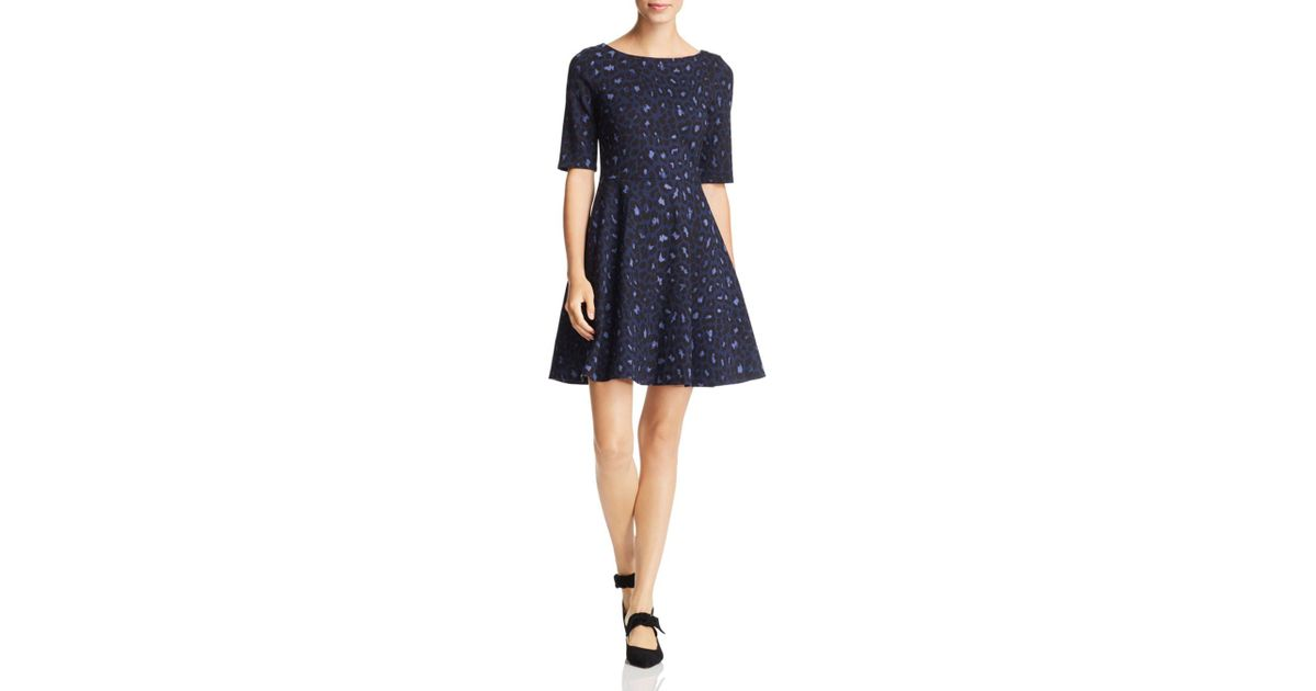 7bae0ff1b3 Kate Spade Leopard-print Lace-up Ponte Dress in Blue - Lyst