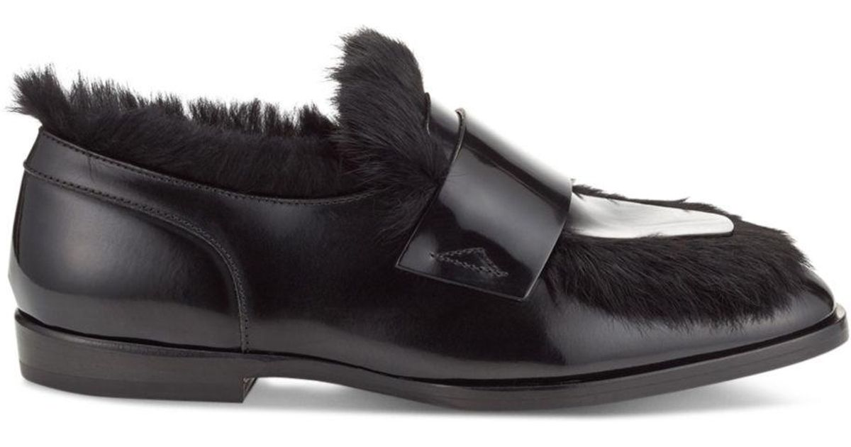 f8e4883fca1 Lyst - Jimmy Choo Men s Tedi Leather   Rabbit Fur Loafers in Black for Men