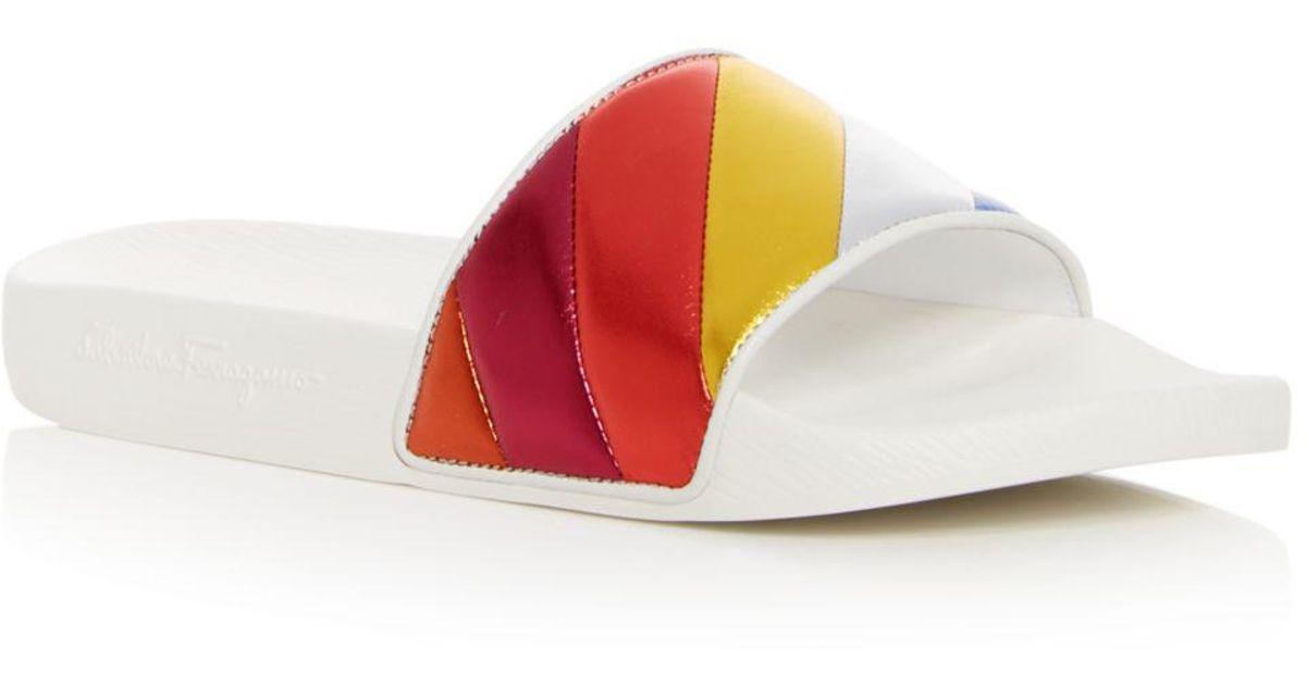 4cf6c1e5da53 Lyst - Ferragamo Women s Groove Multicolor Pool Slide Sandals