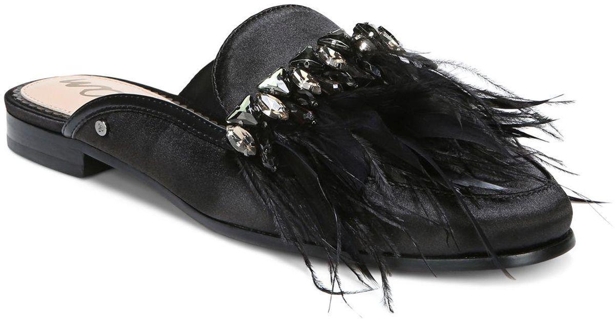 2b339ff2b6c0 Lyst - Sam Edelman Women s Landis Embellished Satin Mules in Black