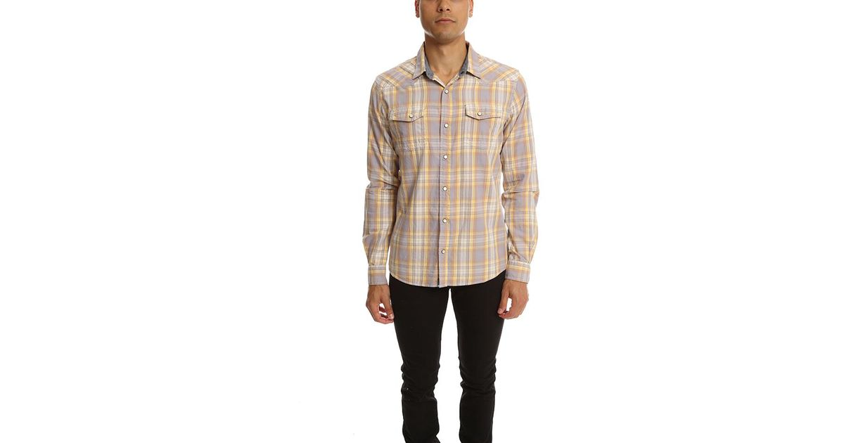 Lyst jachs plaid shirt in yellow for men for Blue and yellow plaid dress shirt