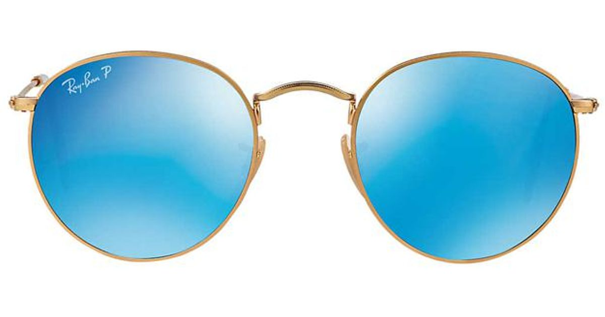 170845df31c Ray-Ban Polarized Round Metal Mirror in Blue for Men - Lyst