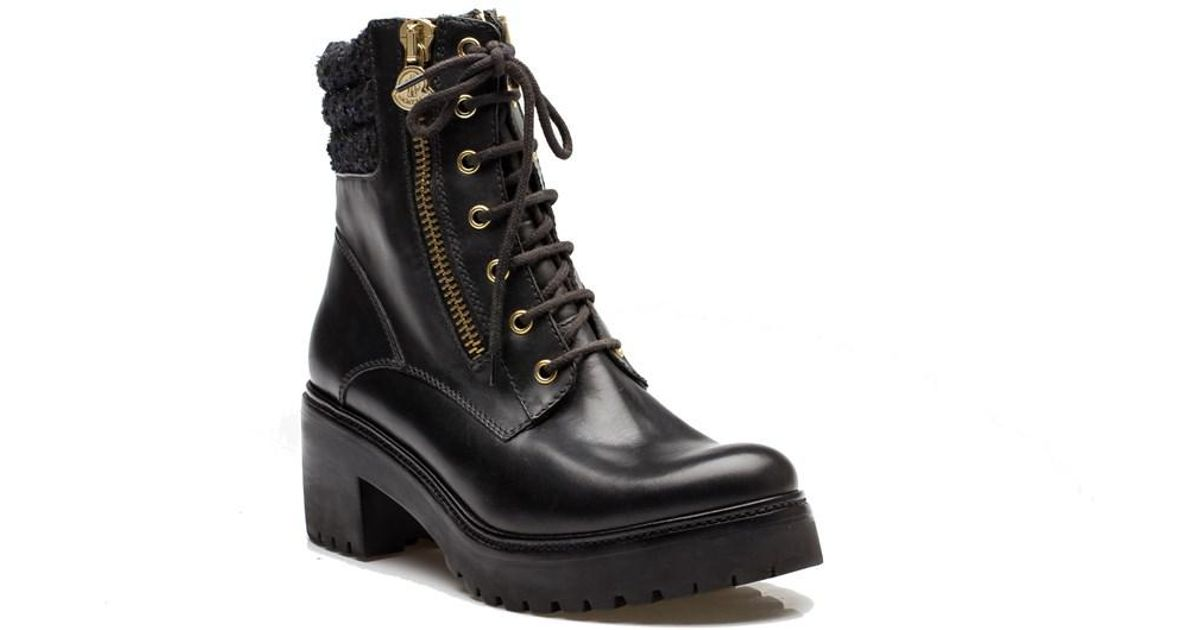 3fceea0cb43f Moncler - Viviane Women s Leather Military Boots Shoes Black - Lyst