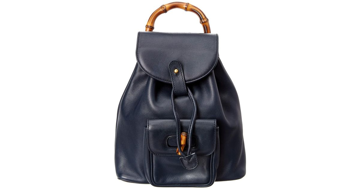d322982010c8 Lyst - Gucci Navy Leather Mini Bamboo Backpack in Blue