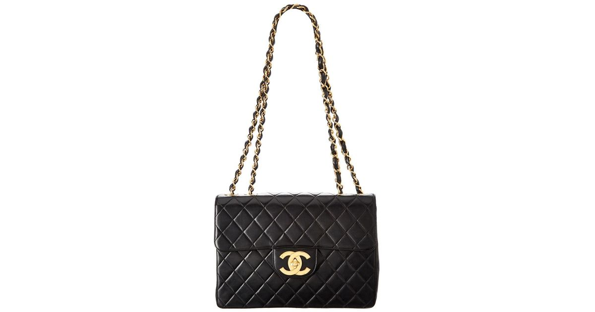 c0b4f11f62d6 Lyst - Chanel Black Quilted Lambskin Leather Maxi Classic Flap Bag in Black