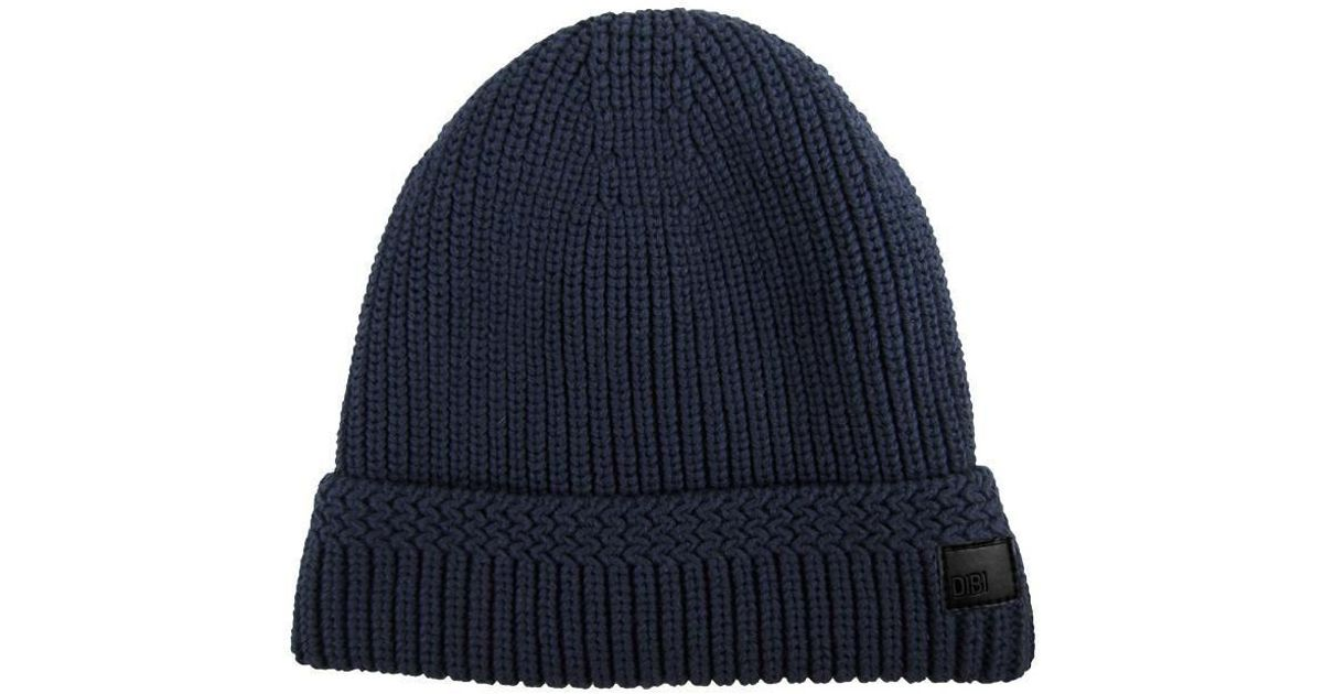 95adc8e89bf Lyst - Dibi Navy Cable Knit Fur Lined Beanie in Blue for Men