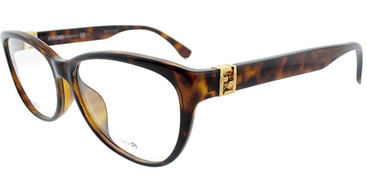 d83f9c413af Lyst - Fendi Ff1005 Edj Havana Cat-eye Eyeglasses in Brown