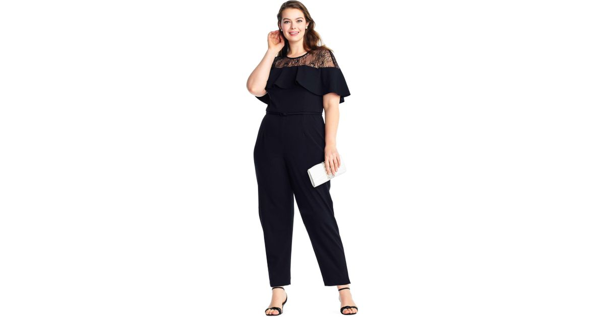 67e0b438912 Lyst - Adrianna Papell Short Sleeve Jumpsuit With Flounce Illusion Neckline  in Black