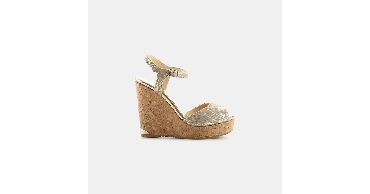 9e4571f0a912 Lyst - Jimmy Choo Perla 120 Snake-print Cork Wedge in Metallic