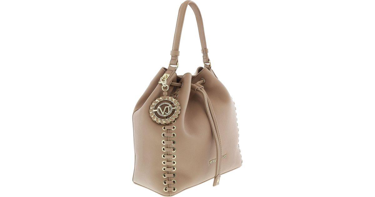 f79f45a5d466 Lyst - Versace Ee1vrbbi3 Light Brown Bucket Bag W  Detachable Strap in Brown