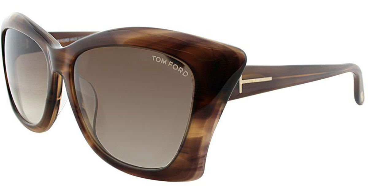 f48507c6a0 Lyst - Tom Ford Lana Asian Fit Ft 9280 50f 59mm Brown Striated Cat-eye  Sunglasses in Brown