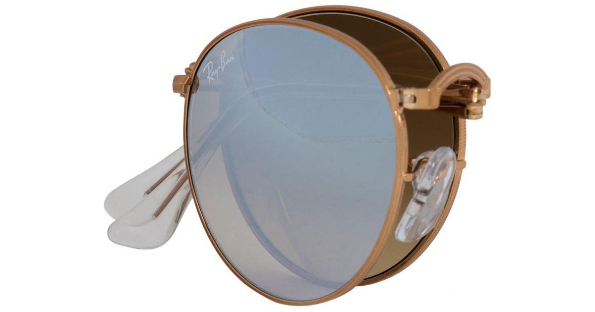 2e28b0281fd85 ... greece lyst ray ban round folding sunglasses rb3532 1989u 47 bronze  copper frame silver gradient flash