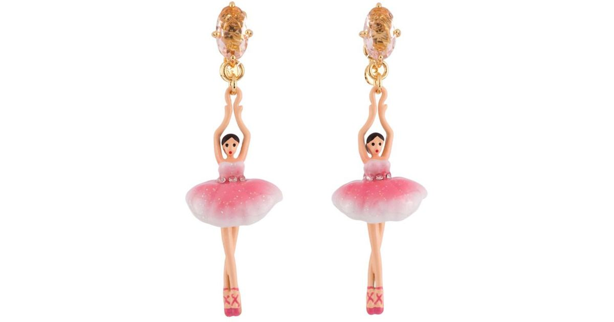 Lyst Les Nereides Pas De Deux Sparkling Pink Ballerina Earrings In