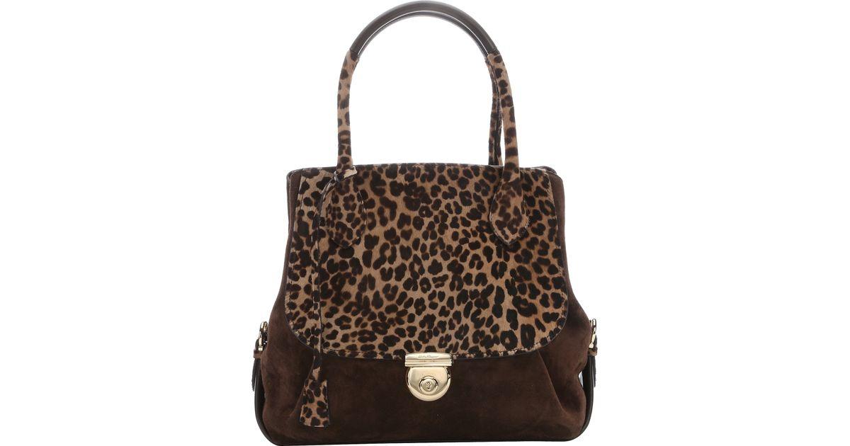 9511d5ab3dba Lyst - Ferragamo Brown Leopard Print Calf Hair And Suede 'fiamma' Tote in  Brown