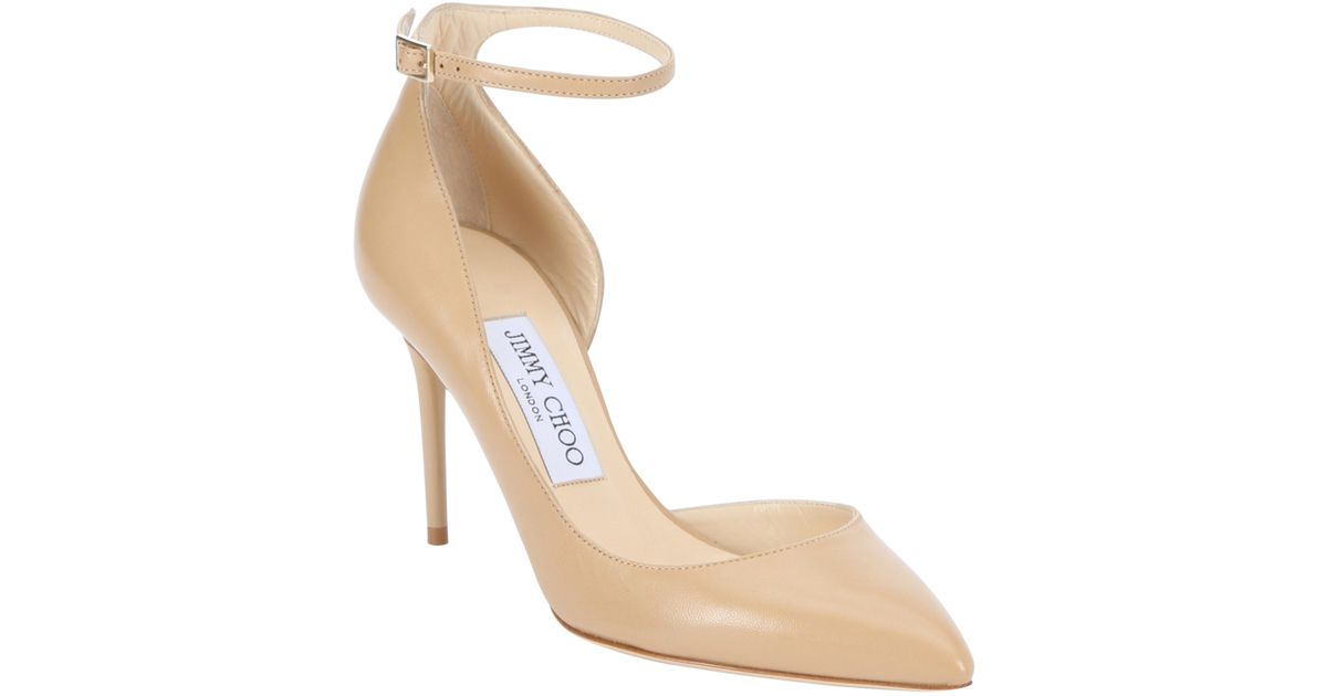 7b87a2cb155 Lyst - Jimmy Choo Nude Leather  lucy 85  D orsay Pumps in Natural