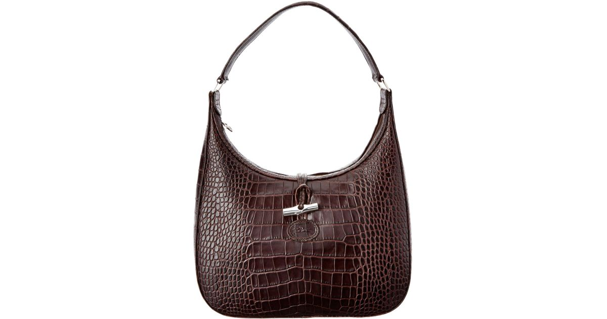 Longchamp Roseau Croco Embossed Leather Hobo In Black Lyst