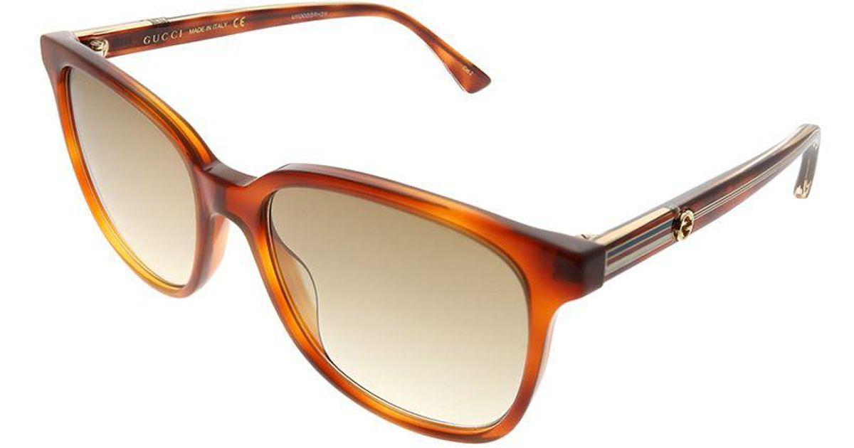 6feb35d5c84 Lyst - Gucci GG 0376s 004 Light Havana Square Sunglasses in Brown