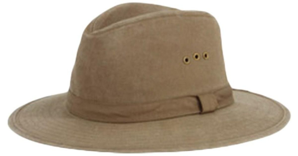 Lyst - San Diego Hat Company Men s Distressed Canvas Fedora Cth3732 in  Green for Men e78f21e35bc1