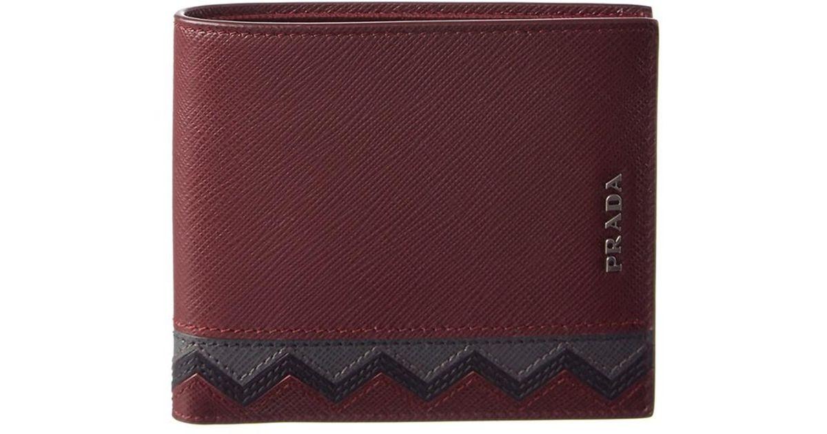 28708313fba55e ... top quality lyst prada chevron saffiano leather bifold wallet in purple  for men a8efc de85e