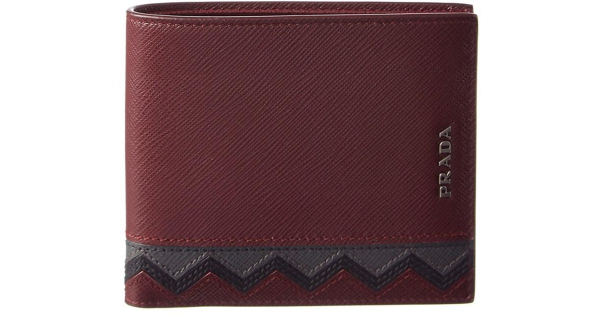 35af141ad2c500 ... top quality lyst prada chevron saffiano leather bifold wallet in purple  for men a8efc de85e