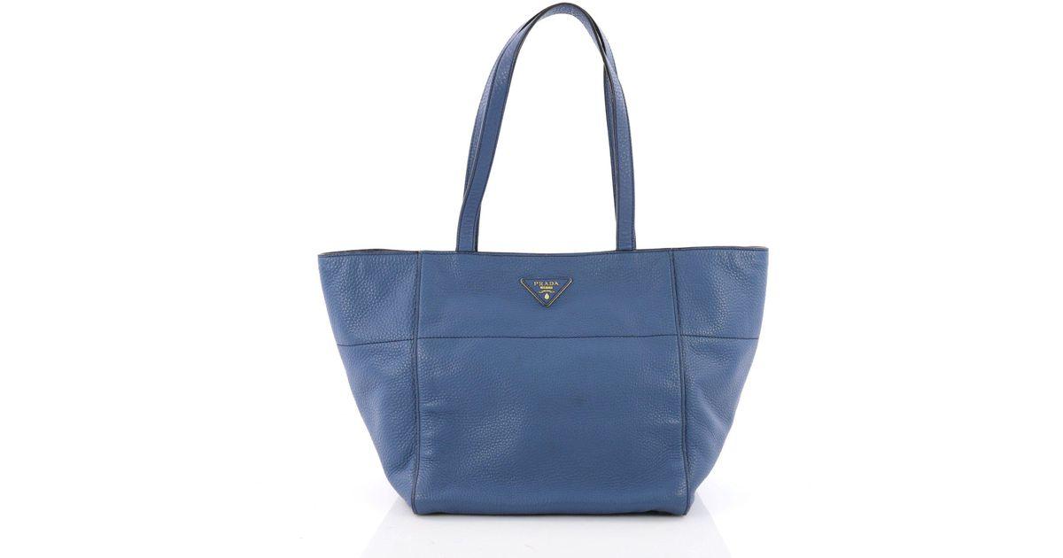 7155c6b91c2e Lyst - Prada Pre Owned Open Tote Vitello Daino Small in Blue