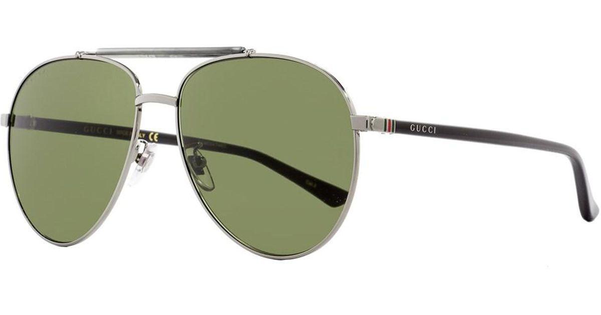 bc8335a8a5 Lyst - Gucci Aviator Sunglasses Gg0014s 003 Ruthenium black 0014 in Black  for Men