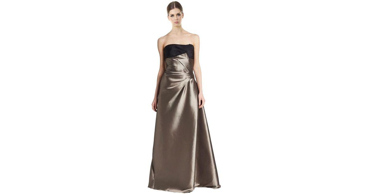 Lyst - Carolina Herrera Two Tone Metallic Strapless Evening Gown in ...