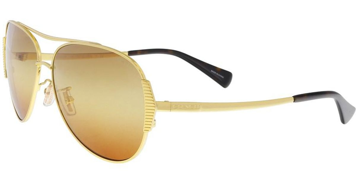 07812d3987 ... 13 gold olive sunglasses eye heart shades 9799f 0ef3b  get lyst coach  hc7067 9238w8 gold dark tortoise aviator sunglasses in metallic c3543 107c8