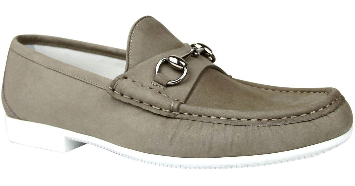 ec75c39fa64 Lyst - Gucci Moccasin Suede Horsebit Loafer 337060 Bho00 in Natural for Men