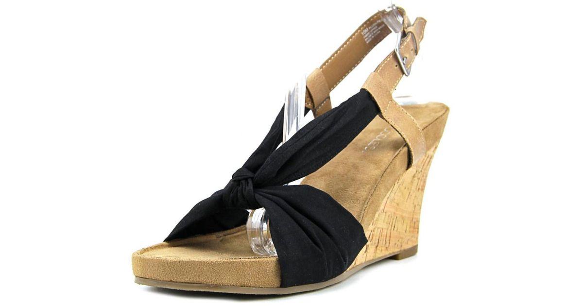 ff530e794a70 Lyst - Aerosoles Plush Pillow Women Open Toe Canvas Wedge Sandal in Black