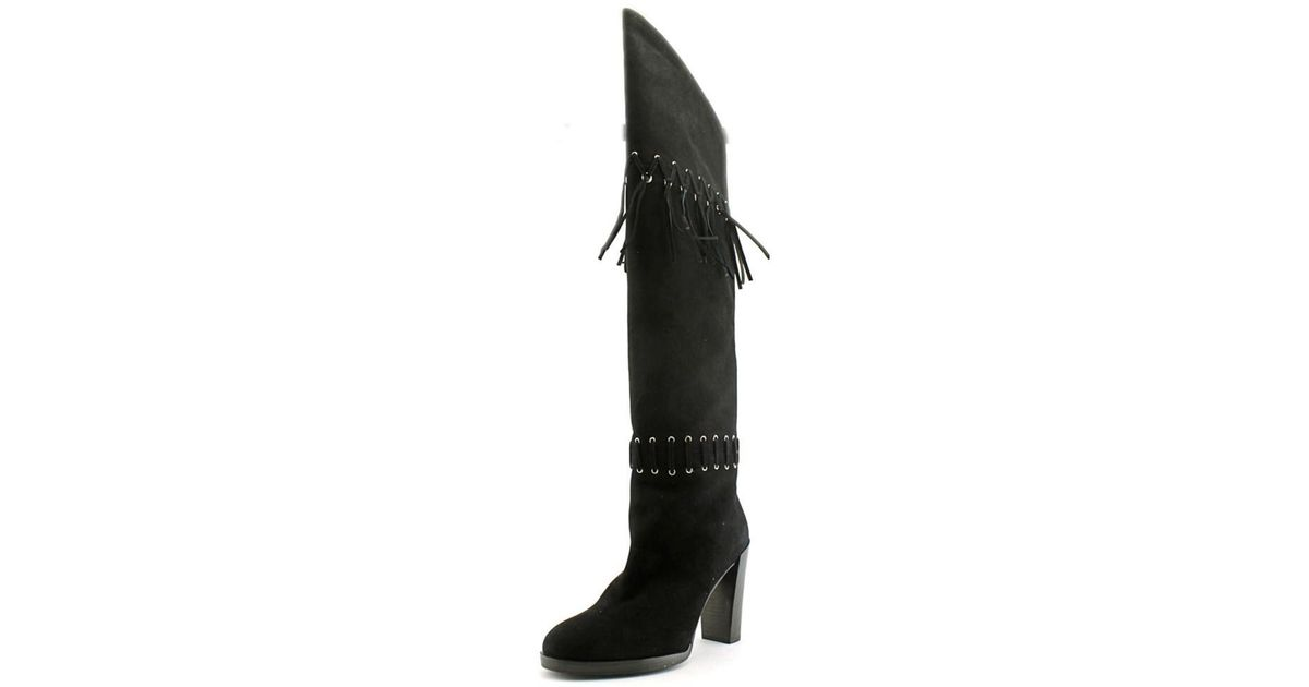 d14d67a2157 Lyst - Rebecca Minkoff Bardot Round Toe Suede Over The Knee Boot in Black