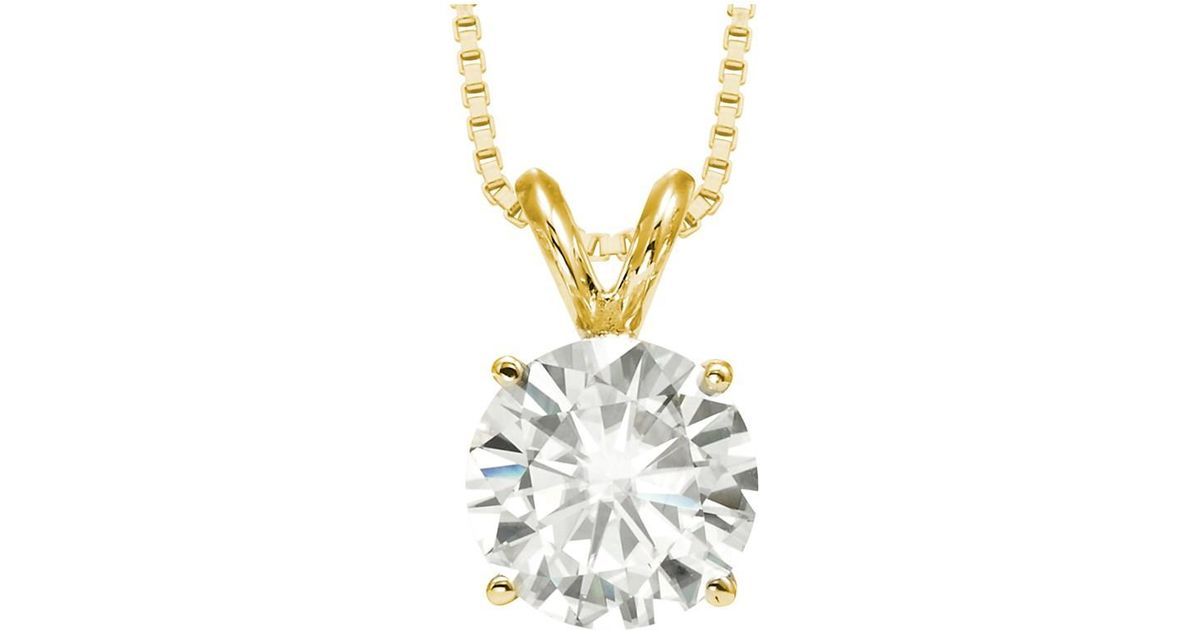 gold yellow cut pendant def white round moissanite item with