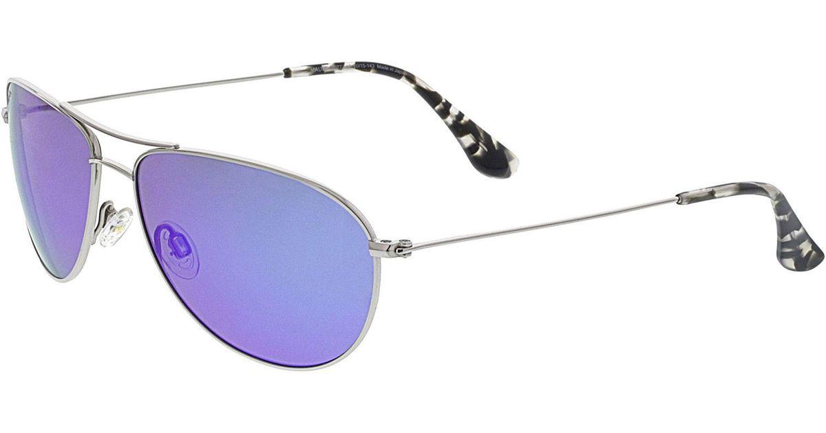 cef7abf9bc7 Lyst - Maui Jim Women s Polarized Sea House B772-17 Silver Aviator  Sunglasses in Metallic