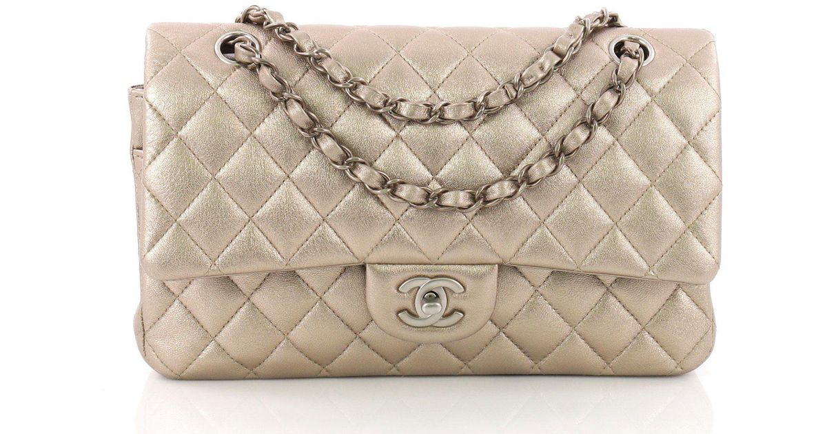 47f92c4e7a46 Lyst - Chanel Pre Owned Classic Double Flap Bag Quilted Lambskin Medium