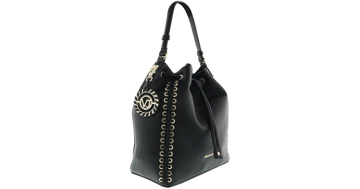 c7d7d5df30e3 Lyst - Versace Ee1vrbbi3 Black Bucket Bag W  Detachable Strap in Black