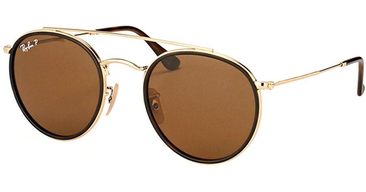 Lyst - Ray-Ban Rb 3647n 001 57 Round Double Bridge Gold Sunglasses in  Metallic dfdf3e53dca9