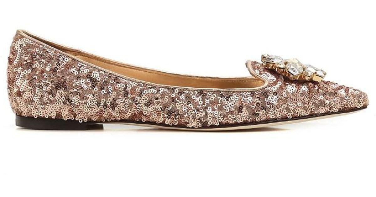 Lyst - Dolce   Gabbana Dolce E Gabbana Women s Pink Glitter Flats in Pink 605da5dfd4