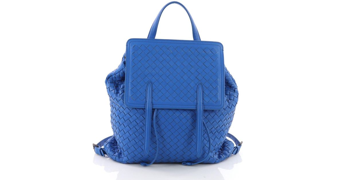 4ccb430fdb38 Lyst - Bottega Veneta Pre Owned Drawstring Backpack Intrecciato Nappa  Medium in Blue