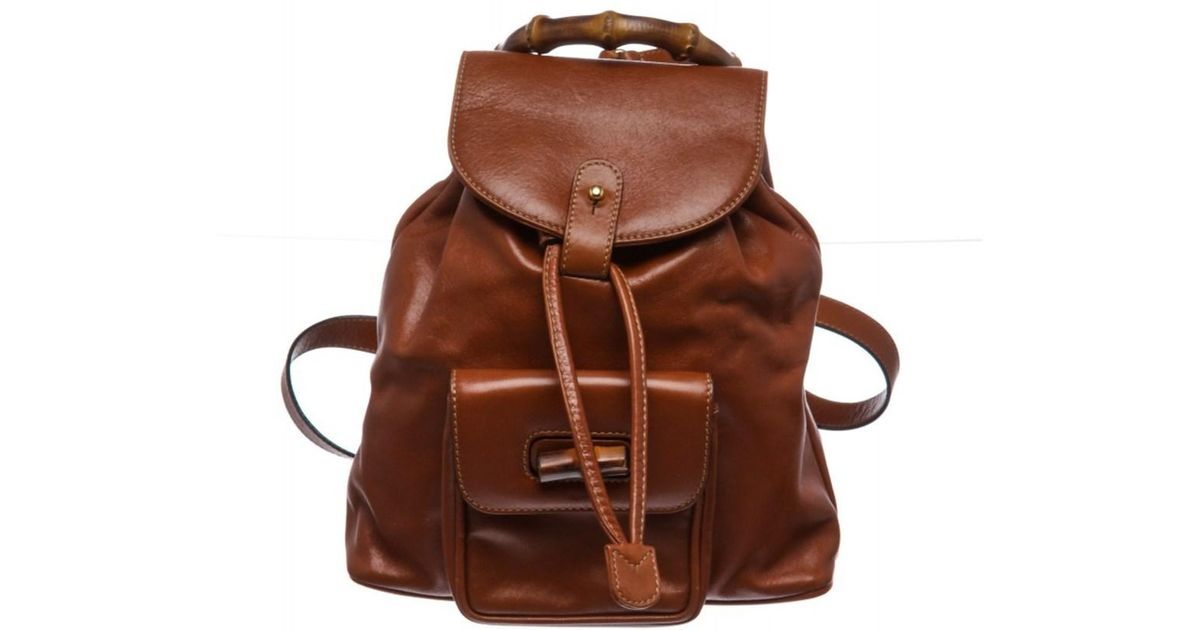 1d625d98f6a3 Lyst - Gucci Pre Owned- Brown Leather Drawstring Bamboo Mini Backpack in  Brown