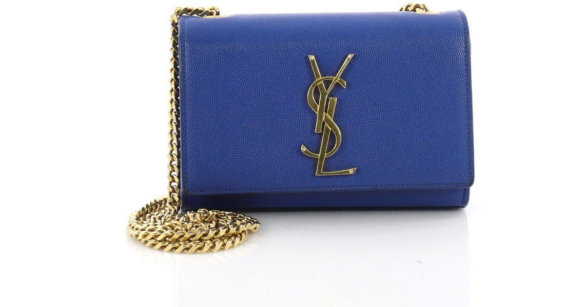 3bdb5c21725e Lyst - Saint Laurent Pre Owned Classic Monogram Crossbody Bag Grainy  Leather Small in Blue