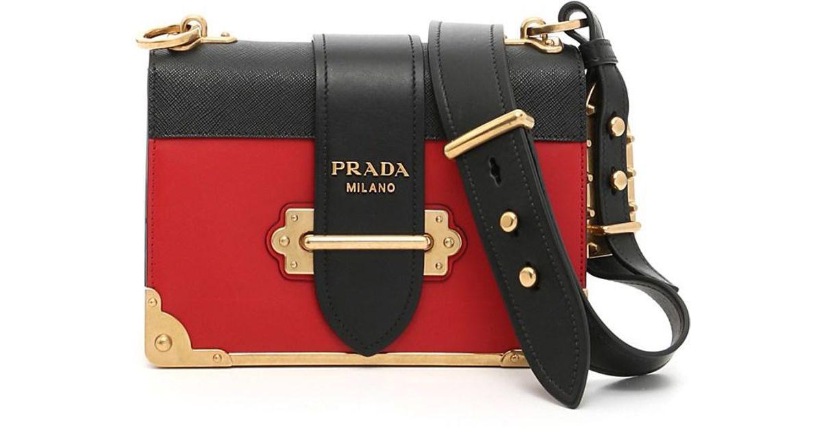 2b9b1dc7ce6e ... netherlands lyst prada womens black red leather shoulder bag in black  1bade a4233