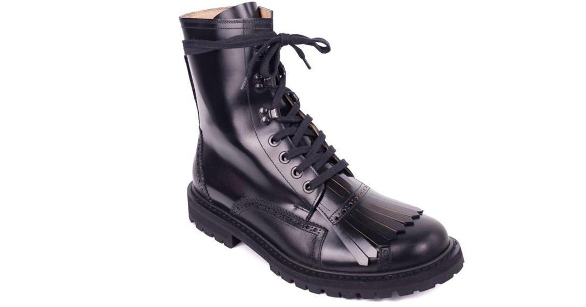 32fe31a95d27 Dries Van Noten Mens Black Fringed Brogue Combat Boots in Black for Men -  Lyst