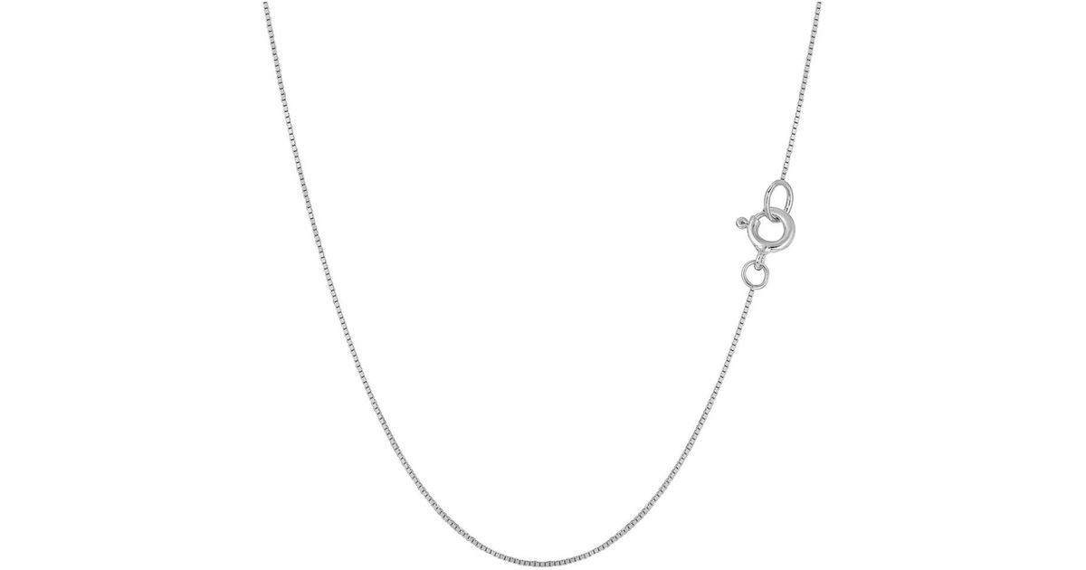 df093287409c8 JewelryAffairs - 14k White Gold Classic Mirror Box Chain Necklace, 0.6mm,  24 Inch - Lyst