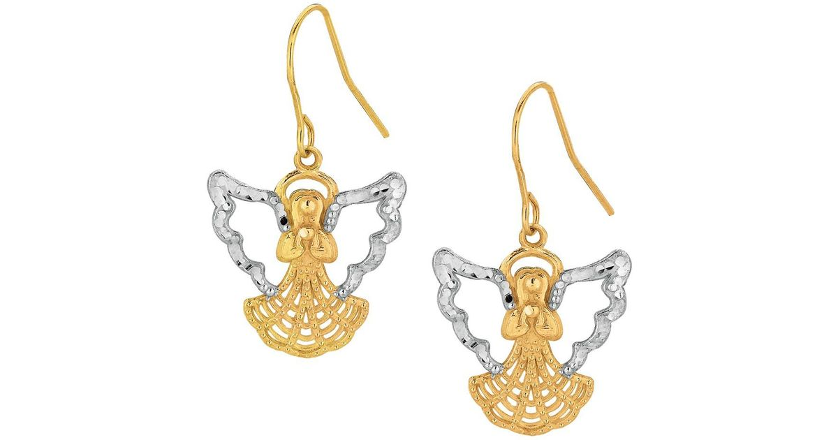 Lyst Jewelryaffairs 10k 2 Tone Yellow And White Gold Angel Drop Earrings In