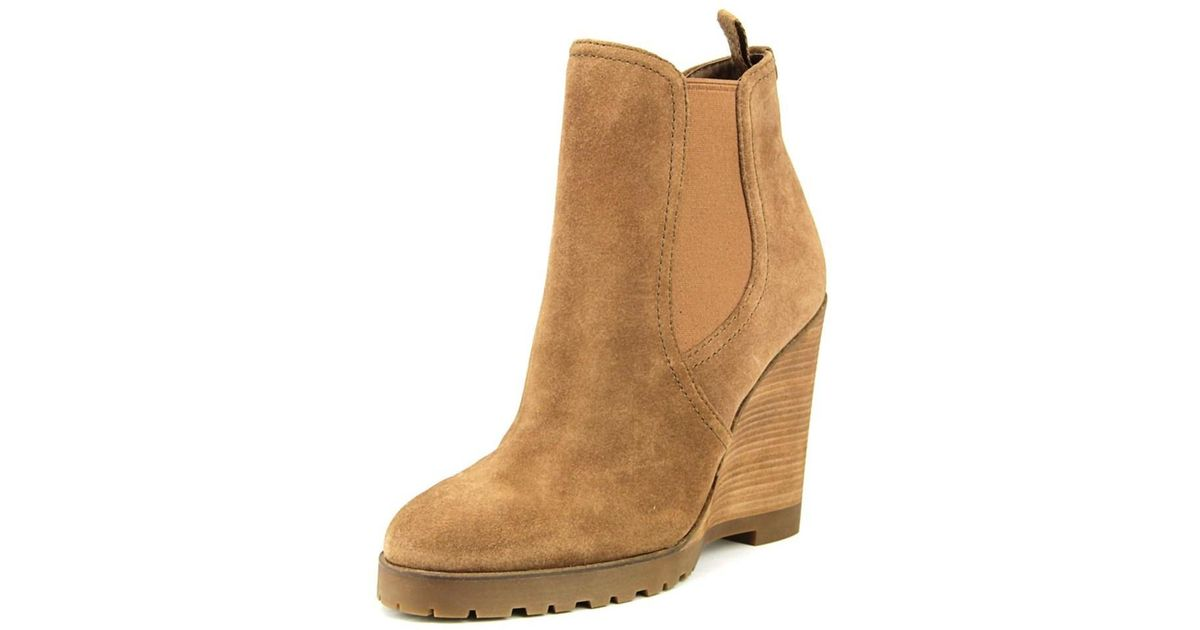 7e91fcef6d2 Lyst - Michael michael kors Thea Wedge Women Round Toe Suede Bootie in Brown