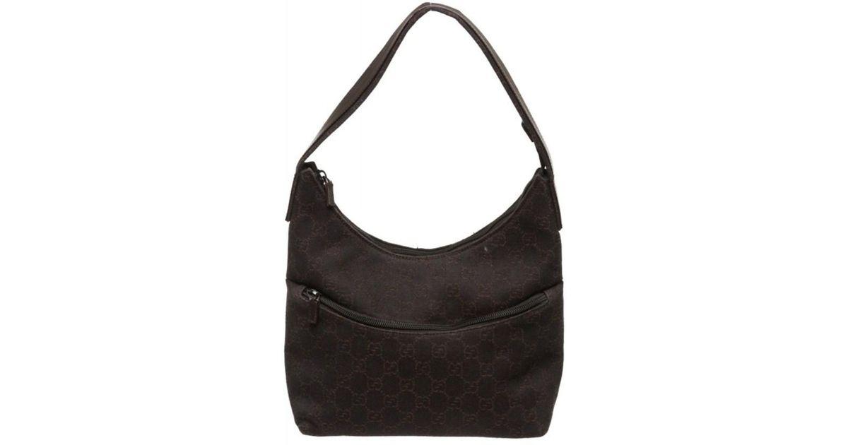 4da07c901b61 Lyst - Gucci Pre Owned - Brown Denim Monogram Leather Shoulder Bag in Brown
